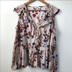 William Rast floral ruffle cold shoulder top Small